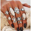 baratos Anéis-Mulheres Opala Estilo vintage Anel de declaração Conjunto de anéis - Caído Boêmio, Punk, Elegante Prata Para Festa de Noite Bandagem / 10pçs