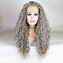 cheap Synthetic Capless Wigs-Synthetic Lace Front Wig Women's Water Wave / Loose Curl Gray Free Part 180% Density Synthetic Hair 18-26 inch Fashionable Design / Soft / Adjustable Gray Wig Long Lace Front Grey