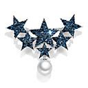 abordables Pendientes-Mujer Circonita Clásico Broche Perla Brillante Chapado en Plata Estrella polvo de estrellas damas Coreano Broche Joyas Azul Para Diario