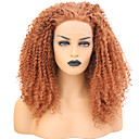 cheap Synthetic Capless Wigs-Synthetic Lace Front Wig Curly Pink Free Part Synthetic Hair 24 inch Adjustable / Heat Resistant Pink Wig Women's Long Lace Front Orange / Yes