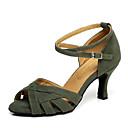 preiswerte Latein Schuhe-Damen Schuhe für den lateinamerikanischen Tanz Wildleder Absätze Strass Keilabsatz Tanzschuhe Dunkelrot / Grün