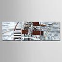abordables Cuadros Abstractos-Pintura al óleo pintada a colgar Pintada a mano - Abstracto Modern Lona / Tres Paneles