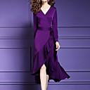 billige Brudesjaler-Dame Plusstørrelser Tynd Bukser - Ensfarvet Patchwork Lilla / V-hals / Asymmetrisk / I-byen-tøj