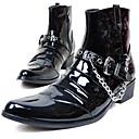 halpa Miesten saappaat-Miesten Fashion Boots Kiiltonahka Talvi Vintage / Vapaa-aika Bootsit Pidä lämpimänä Säärisaappaat Musta / Juhlat