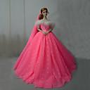 preiswerte Zubehör für Puppen-Kleider Einteilig Für Barbiedoll Rose Rosa Satin / Tüll Kleid Für Mädchen Puppe Spielzeug