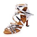 זול נעלי ריקוד-בגדי ריקוד נשים נעליים לטיניות עור פטנט סנדלים אבזם עקב רחב נעלי ריקוד זהב / כסף