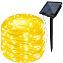 billige LED-lamper-HKV 10 m Lysslynger 100 lysdioder Varm hvid / Kold hvid / RGB Vandtæt / Solar / Fest Soldrevet 1set