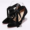 olcso Női magassarkú cipők-Női Kényelmes cipők Fordított bőr Tavasz Magassarkúak Tűsarok Fekete / Piros / Kék