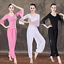 ieftine Îmbrăcăminte de Fitness, Alergat & Yoga-Pentru femei Spate în cruce Costum de yoga - Alb, Negru, Roz Sport Culoare solidă Modal, Plasă Talie Inaltă Tricou / bloomers Pilates, Dans, Fitness Lungime Manșon 3/4 Îmbrăcăminte de Sport  Ușor