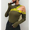 رخيصةأون ملصقات الحائط-المرأة الخروج من قميص ضئيلة - العنق طاقم الرسالة / اللون