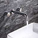 billige Baderomskraner-Baderom Sink Tappekran - Nytt Design Krom Veggmontering To Håndtak tre hull