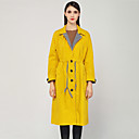 cheap Memory Cards-Women's Going out Basic / Street chic Cotton Loose Trench Coat - Solid Colored, Patchwork