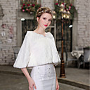 cheap Wedding Wraps-Half Sleeve Faux Fur Wedding / Party / Evening Women's Wrap With Crystal Floral Pin Shrugs