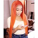 Χαμηλού Κόστους Συνθετικές περούκες χωρίς σκουφί-Συνθετικές μπροστινές περούκες δαντέλας Ίσιο Στυλ Μέσο μέρος Δαντέλα Μπροστά Περούκα Κόκκινο Πορτοκαλί Συνθετικά μαλλιά 22-26 inch Γυναικεία Ανθεκτικό στη Ζέστη / Γυναικεία / Στη μέση Κόκκινο Περούκα