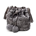 ieftine Genți Umeri-Pentru femei Genți Blană Artificială Umăr Bag Pană / Blană Culoare solidă Negru / Gri / Maro