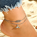 cheap Anklet-Retro Double Layered Yoga Ankle Bracelet - Creative, Mermaid Simple, Vintage, Ethnic Silver For Daily Ceremony Street Women's / 2pcs