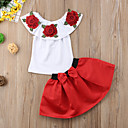 cheap Girls' Clothing Sets-Toddler Girls' Active / Street chic Party / Going out Solid Colored / Floral Bow / Embroidered Sleeveless Regular Regular Cotton / Spandex Clothing Set Red