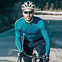זול חולצות רכיבת אופניים-SANTIC בגדי ריקוד גברים שרוול ארוך חולצת ג'רסי לרכיבה כחול אפור יין אדום צבע אחיד אופנייים ג'רזי צמרות פתילת לחות ספורט טרילן רכיבת הרים רכיבת כביש ביגוד / מיקרו-אלסטי / מידת Race Fit