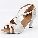 povoljno Cipele za latino plesove-Žene Cipele za latino plesove Lakirana koža Štikle Isprepleteni dijelovi Kubanska potpetica Moguće personalizirati Plesne cipele Pink