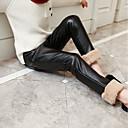 tanie Spodnie i getry-Dzieci Dla dziewczynek Aktywny Codzienny Solidne kolory Warstwy materiały / Patchwork PU / Poliester Spodnie Czarny 110