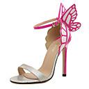 cheap Women's Sandals-Women's PU(Polyurethane) Summer Sweet Sandals Stiletto Heel Open Toe Bowknot Yellow / Silver / Green / Color Block