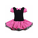 tanie Sukienki dla dziewczynek-Dzieci Dla dziewczynek Podstawowy Solidne kolory / Groszki Długi rękaw Sukienka Czerwony 110