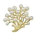 cheap Brooches-Women's Pearl Hollow Out Brooches - Pearl Simple, Basic Brooch Golden For Date / Work