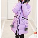 tanie Kurtki i płaszcze dla dziewczynek-Dzieci Dla dziewczynek Podstawowy Codzienny Solidne kolory Długi rękaw Regularny Bawełna / Poliester Odzież puchowa / pikowana Czerwony 140