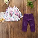 levne Sady oblečení-Děti Toddler Dívčí Aktivní Základní Denní Sport Květinový Volány Ripped Dlouhý rukáv Standardní Bavlna Polyester Spandex Sady oblečení Fialová