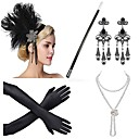 cheap Party Headpieces-The Great Gatsby Vintage 1920s Roaring Twenties Costume Women's Flapper Headband Headwear Pearl Necklace Golden / Golden+Black / Black / White Vintage Cosplay Feather Party Prom Sleeveless
