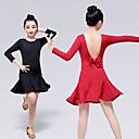 זול הלבשה לריקודים לטיניים-ריקוד לטיני שמלות בנות הדרכה / הצגה אלסטיין / לייקרה דמוי גל שרוול ארוך שמלה