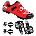 abordables Zapatos de Ciclismo-SIDEBIKE Adulto Zapatillas de ciclismo con pedal y cala / Calzado para Mountain Bike Fibra de Carbono Amortización Ciclismo Rojo / negro Hombre