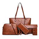 povoljno Komplet torbi-Žene Patent-zatvarač PU Bag Setovi Kompleti za vrećice Color block 5 kom Crn / Braon / Blushing Pink / Jesen zima