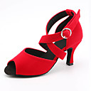 povoljno Cipele za latino plesove-Žene Cipele za latino plesove Saten Sandale / Tenisice Kopča Tanka visoka peta Moguće personalizirati Plesne cipele Crn / Light Red / Plava / Seksi blagdanski kostimi / Koža