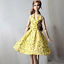 זול אביזרים לבובות-שמלות שמלה ל ברבי דול צהוב בהיר בד כותנה / לא ארוג שמלה ל הילדה של בובת צעצוע