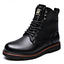 cheap Men's Boots-Men's Combat Boots Leather Winter Boots Booties / Ankle Boots Black / Brown