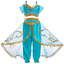 cheap Movie & TV Theme Costumes-Princess Jasmine Cosplay Costume Girls' Kid's Halloween Christmas Halloween Carnival Festival / Holiday Tulle Polyster Outfits Green Princess