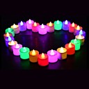 cheap Décor Lights-24PCS LED Candle Multicolor Lamp Simulation Color Flame Tea Light Home Wedding Birthday Party Decoration Dropshipping