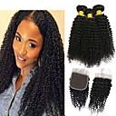 halpa Aitohiusperuukit-3 pakkausta sulkemalla Kinky Curly Virgin-hius Käsittelemätön aitoa hiusta Hiukset kutoo Bundle Hair Yksi pakkaus ratkaisu 8-20 inch Luonnollinen väri Hiukset kutoo Tulokas Tyylikäs Muoti Hiukset