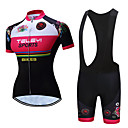 cheap Cycling Jersey & Shorts / Pants Sets-TELEYI Women's Short Sleeve Cycling Jersey with Bib Shorts White Black Floral Botanical Bike Clothing Suit Breathable Moisture Wicking Quick Dry Sports Polyester Floral Botanical Mountain Bike MTB