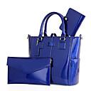 hesapli Çanta Setleri-Kadın's Fermuar Çanta Setleri Çanta Setleri Rugan Deri / PU Tek Renk 3 Adet Çanta Seti Siyah / YAKUT / Mor / Sonbahar Kış