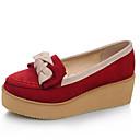 olcso Női alacsony cipők-Női Fordított bőr Tavasz Édes / minimalizmus Lapos Tipegők Kerek orrú Csokor Bézs / Piros / Kék