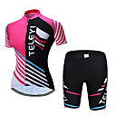 cheap Cycling Jersey & Shorts / Pants Sets-TELEYI Women's Short Sleeve Cycling Jersey with Shorts - Pink Stripes Bike Clothing Suit Breathable Sports Polyester Stripes Mountain Bike MTB Road Bike Cycling Clothing Apparel / Stretchy