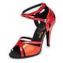 cheap Cell Phones-Women's Latin Shoes Faux Leather Heel Splicing Slim High Heel Customizable Dance Shoes Gold / Red / Blue