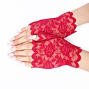 cheap Party Gloves-Lace Wrist Length Glove Lace / Gloves With Solid