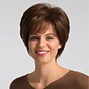 hesapli Bonesiz-İnsan Saçları Kapsız Peruklar Gerçek Saç Doğal düz Bob Saç Kesimi Modaya Uygun Takı / Kolay soyunma / Rahat Kahverengi Şort Bonesiz Peruk Kadın's / Doğal saç çizgisi