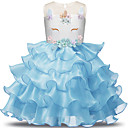cheap Movie & TV Theme Costumes-Unicorn Dress Girls' Kid's Dresses Halloween Halloween Carnival Children's Day Festival / Holiday Tulle Polyster Outfits Light Purple / Brown / Blue Lace
