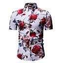 levne Pánské košile-Pánské - Květinový / Grafika / Etno Košile, Tisk Klasický límeček Bílá XL