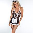 abordables Uniformes Sexy-Costumes de cosplay Femme Super sexy Costumes Vêtement de nuit Imprimé, Broderie Noir L XL XXL
