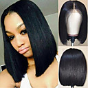 cheap Human Hair Wigs-Virgin Human Hair Lace Front Wig Short Bob Brazilian Hair Silky Straight Black Wig 130% Density with Baby Hair Natural Hairline African American Wig For Black Women With Bleached Knots Natural Black